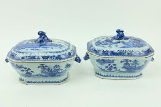 A pair of Chinese blue and white Nankin Soup Tureens and Covers, decorated with boats, figures and