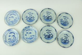 """A set of 8 Chinese blue and white porcelain Plates,ÿ18th Century, decorated with bamboo trees 9"""" ("""