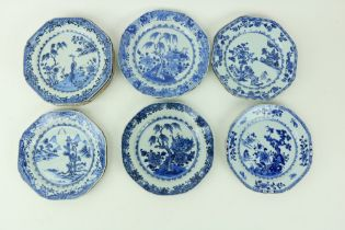 A set of 6 - 18th Century Chinese blue and white Phoenix Plates, each of octagonal form and 10 other