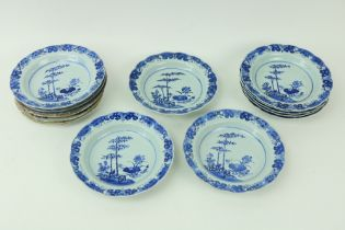 A good set of 9 Chinese 18th Century blue and white porcelain Plates, each decorated with bamboo and