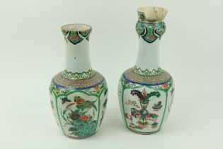"""A pair of Chinese Famille Verte """"Garlic Head"""" Vases,ÿKangxi (1662 - 1722), each with ovoid body"""