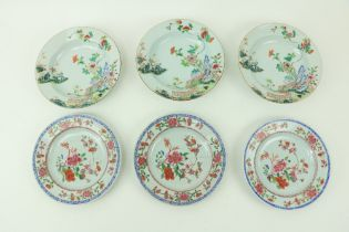 A set of three 18th Century Famille Verte Chinese Bowls, each decorated with two cranes standing