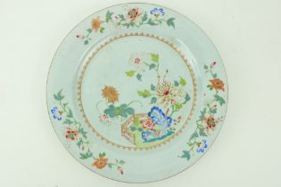 An 18th Century Chinese Famille Rose Platter, decorated with colourful flowers, with fleur de lys