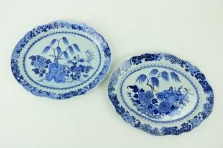 """A good pair of Kangxi blue and white Chinese oval Platters, with willow trees, 15 1/2"""" (40cms). (2)"""