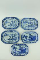A set of three 18th Century Nankin blue and white porcelain Platters, decorated with boat houses and