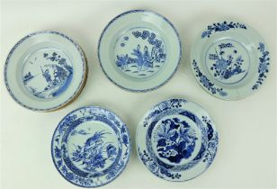 A set of 5 - 18th Century Chinese blue and white Pudding Bowls, each with a female and dog in a