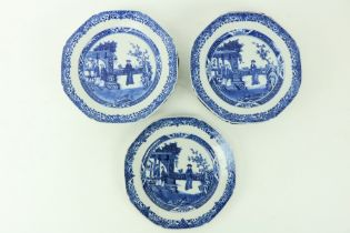 A good set of 12 - 18th Century Chinese blue and white octagonal Plates, each with figures on a