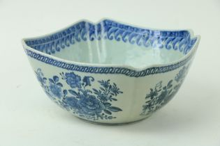 A Chinese blue and white Nankin Bowl, of square form with re-entrant corners, decorated with