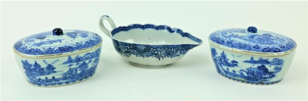 A pair of Qianlong oval Chinese blue and white Sauce Tureens and Covers, decorated with figures in