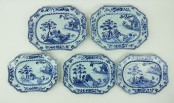 A pair of 18th Century Nankin blue and white porcelain Platters, of shaped rectangular form,
