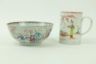 An early 19th Century Chinese Famille Rose Bowl, decorated with figures merrymaking, approx.