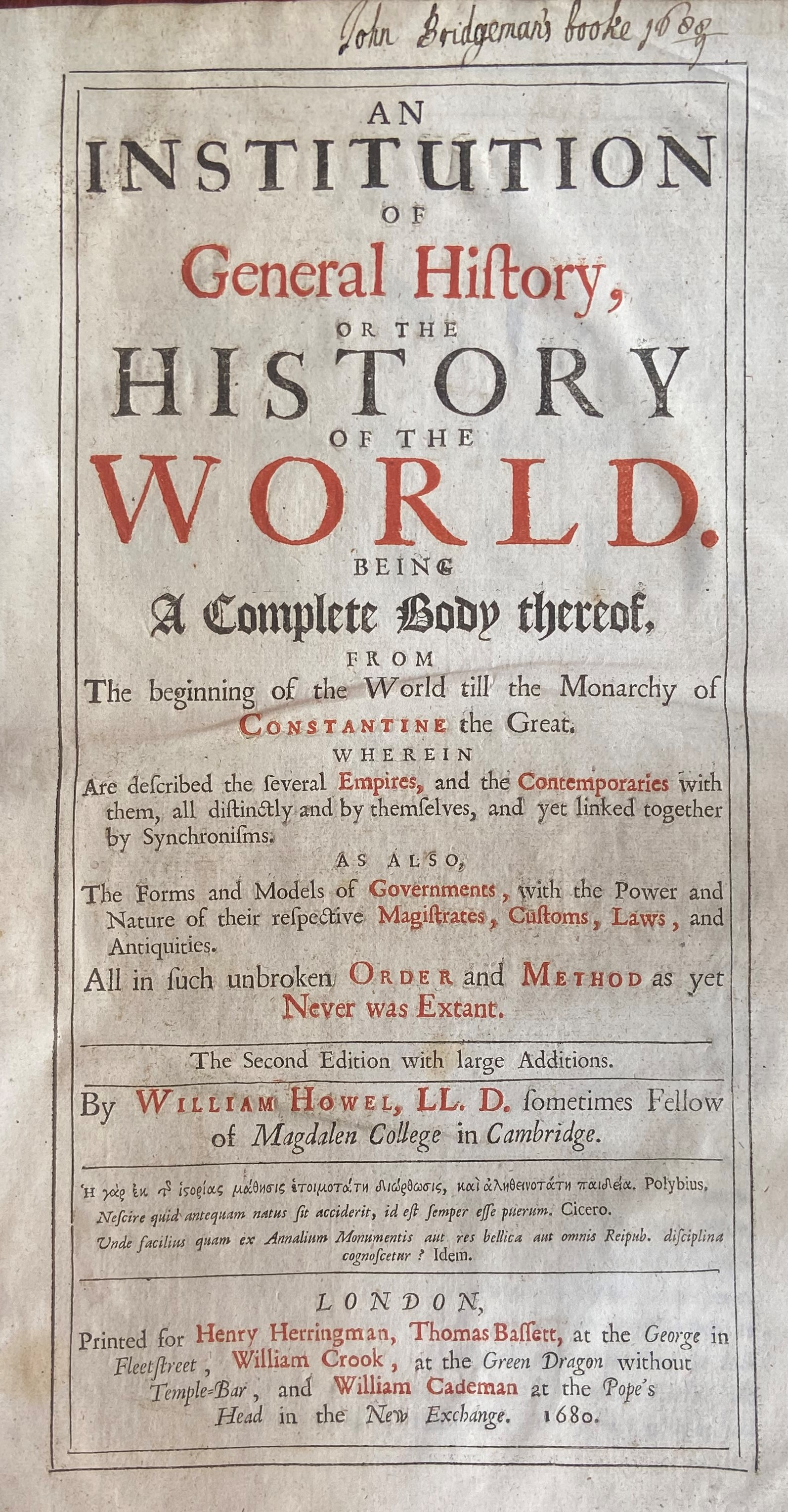 Howel (William)ÿAn Institution of General History, or The History of the World, 2 vols. lg. folio