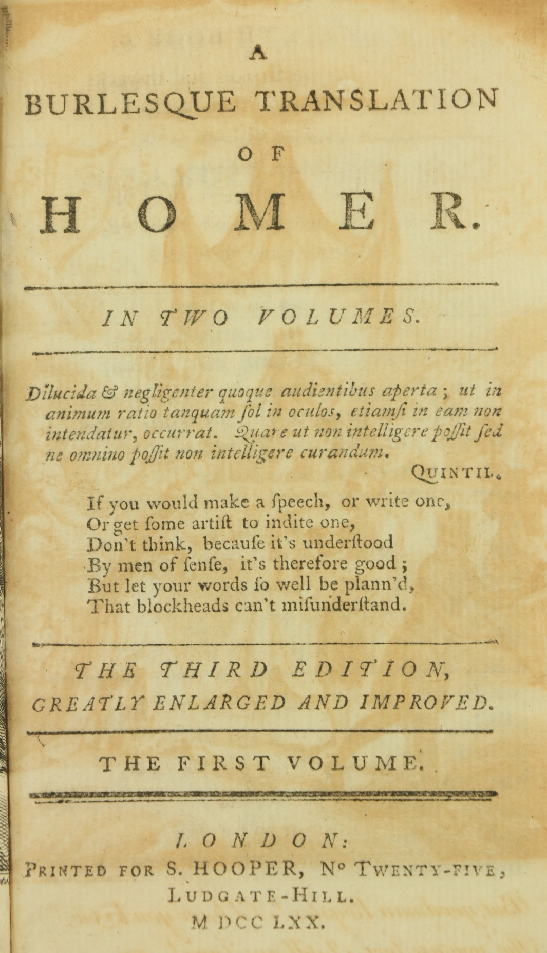 [Brydges (Thos.)]ÿA Burlesque Translationÿof Homer, 2 vols. 12mo L. 1770.ÿThird Edn.,ÿ2 engd. - Image 4 of 4