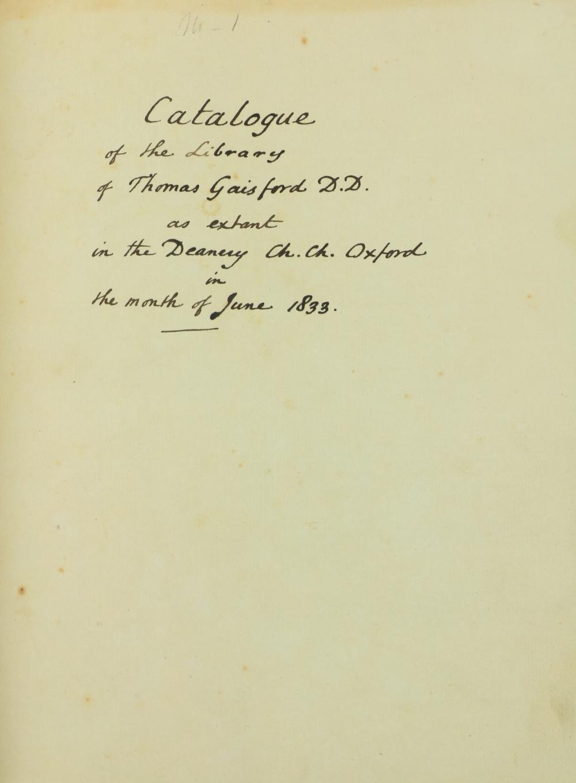 Unique Manuscript Book Catalogue Manuscript:ÿÿGaisford (Thomas)ÿÿBibliotheca Gaisfordiana, Catalogue - Image 3 of 3