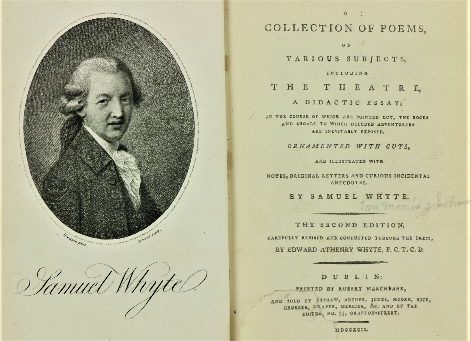 Whyte (Samuel) A Collection of Poems, on Various Subjects, includingÿThe Theatre. 8vo D. 1792.