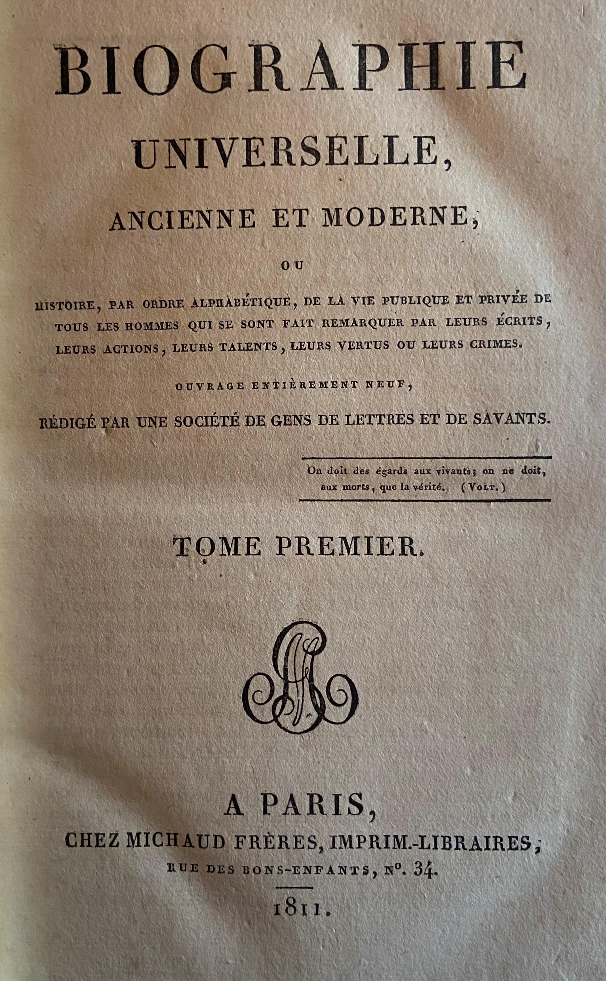 Bindings:ÿÿBiographie Universelle Ancienne et Modern, Vols. 1 - 85, together 85 vols. 8vo Paris 1811