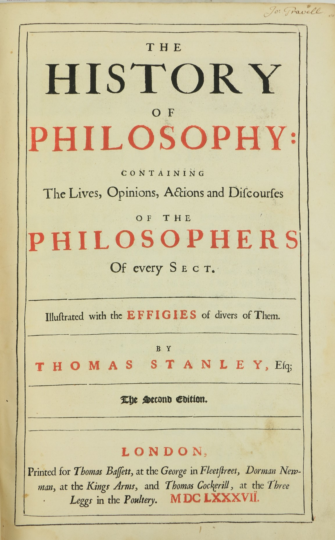 Stanley (Thos.)ÿThe History of Philosophy: Containing The Lives, Opinions, Actions and Discourses of