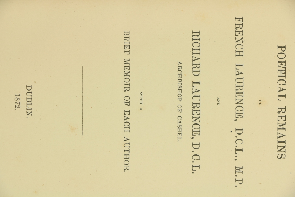 Scarce Irish Poetry Collectionÿ Laurence -ÿ Poetical Remains of French Laurence, D.C.L., M.P. and - Image 2 of 3