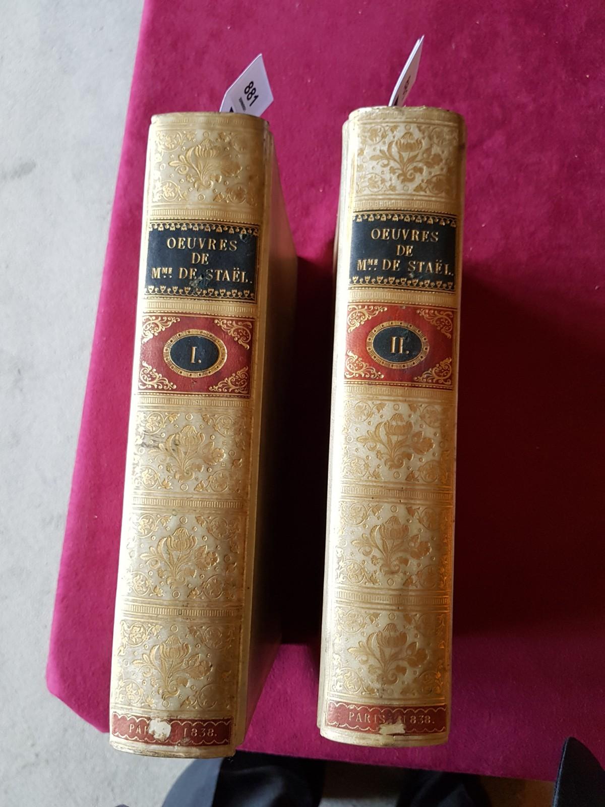 De Stael (Madame)ÿOeuvres Completes de Madame la Baronne de Stael-Holstein, 2 vols. folio Paris ( - Image 7 of 8