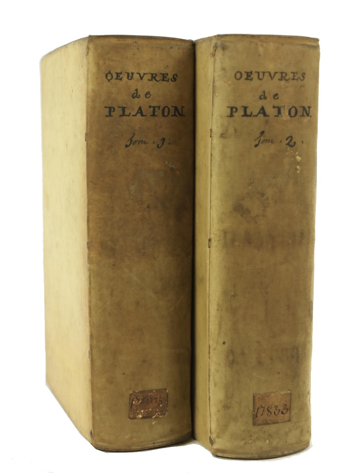 Platon -ÿÿLes Oeuvres de PlatonÿTraduites en Francois, avec des Remarques, 2 vols. Amsterdam (d'