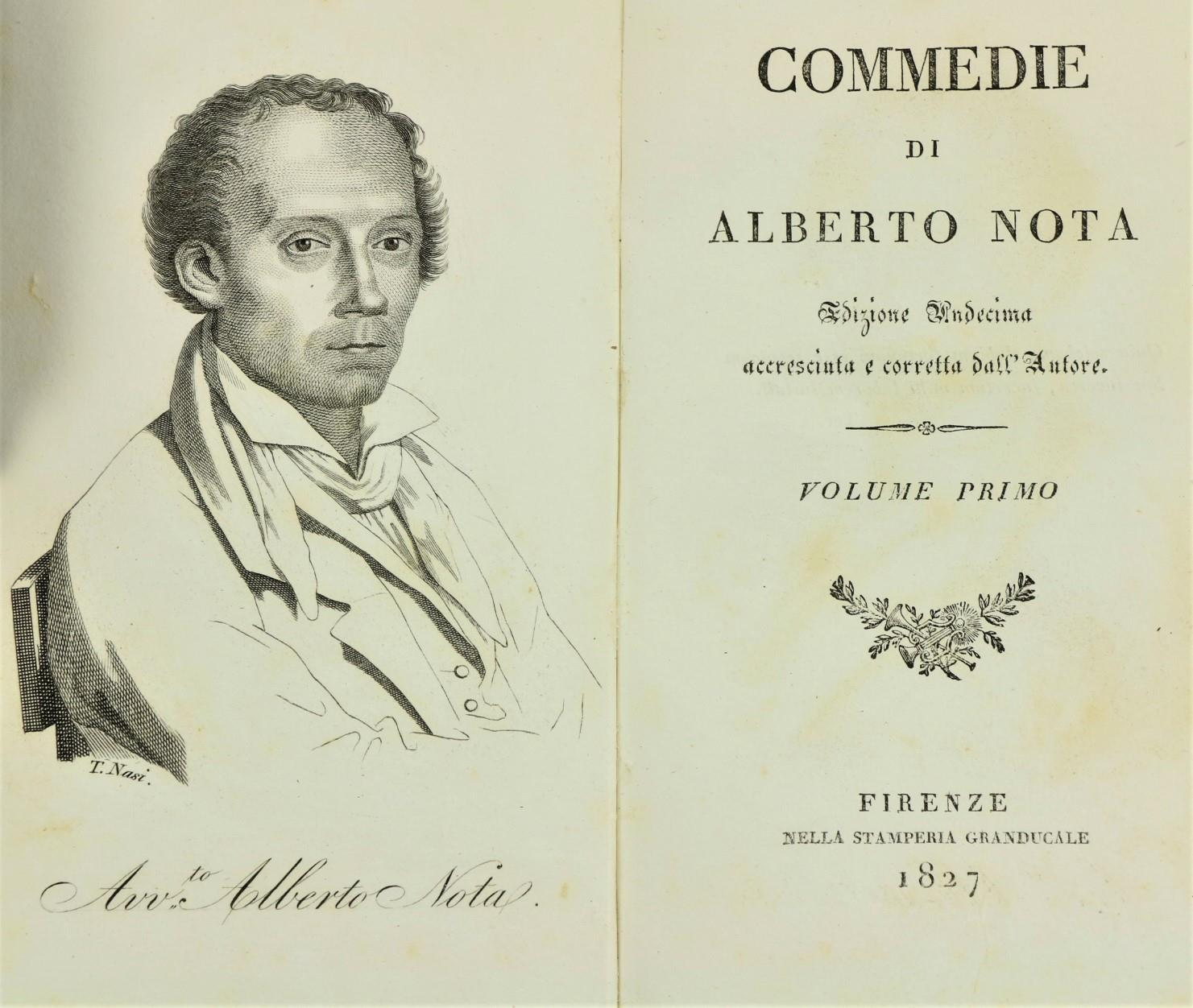 Nota (A.)ÿCommedie di Alberto Nota, 7 vols. 12mo Florence 1827. Port. frontis, cont. calf backed - Image 2 of 2