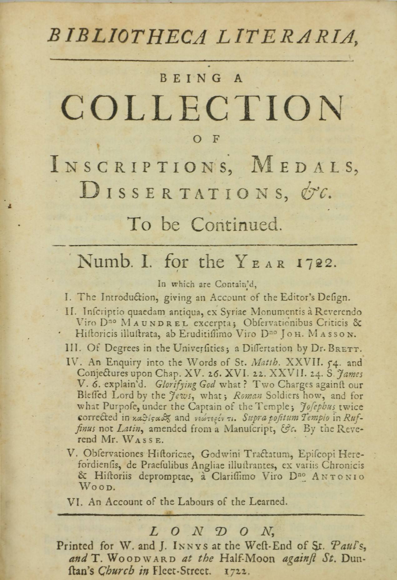Periodical:ÿÿBibliotheca Literaria, Being a Collection of Inscriptions, Medals, Dissertations, - Image 3 of 4