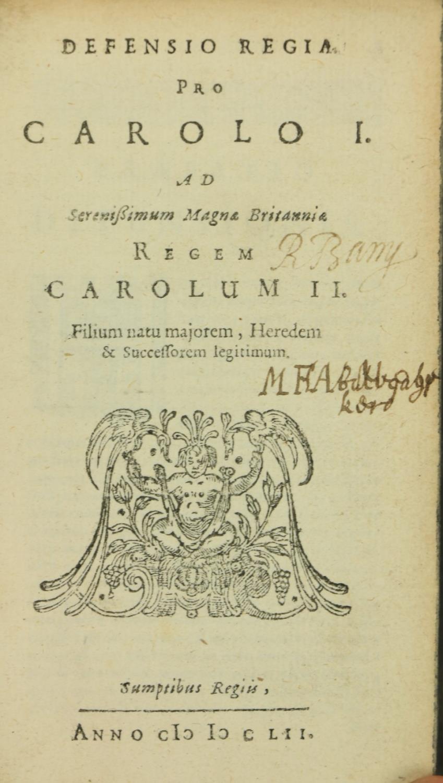 Binding: Charles I:ÿDefensio Regia Pro Caroli I, Ad Serenissimum Magnae Brittaniae Regem Carolum II. - Image 5 of 5