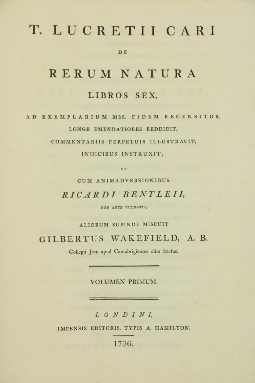 Wakefield (Gilbert)ÿÿT. Lucretii Cari de Rerum Natura Libros Sex,... et Cum Animadversionibus - Image 3 of 3