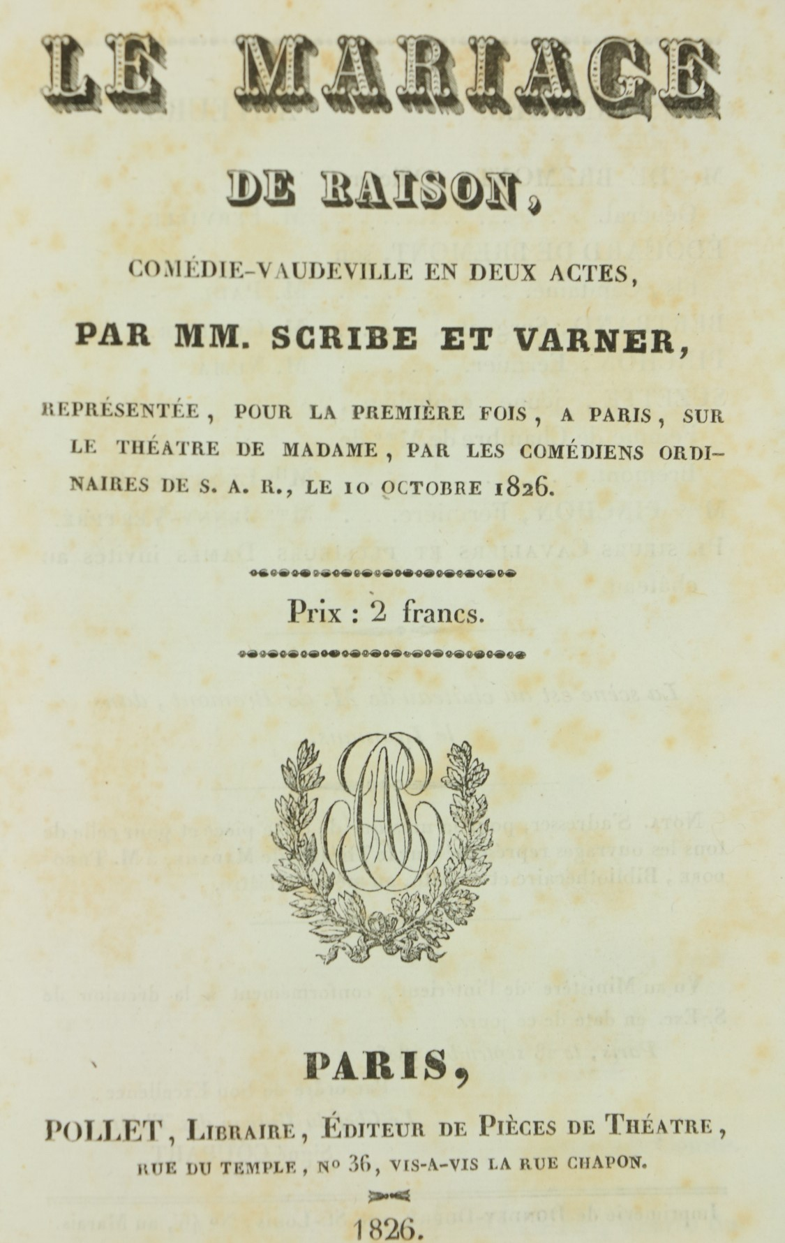 Early 19th Century Plays & Operasÿ French Literature:ÿÿComedies Francais, An important collection of - Image 2 of 2