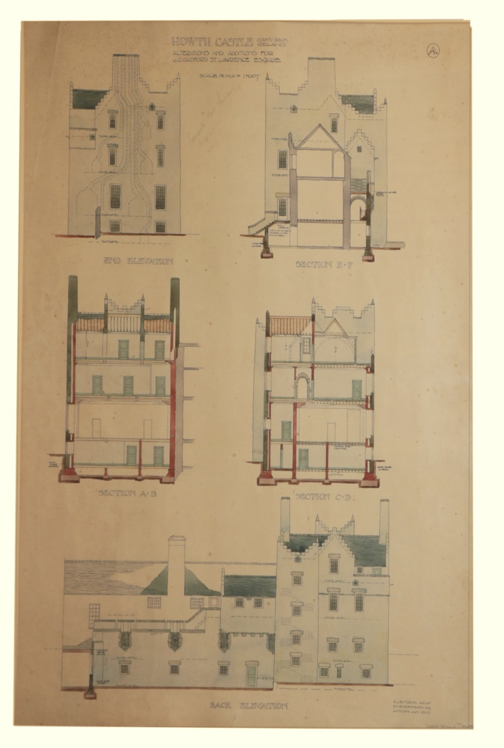 Sir Edward L. Lutyens 1869 - 1944 Howth Castle Plans: A Series of 10 Prototype Architect Drawings