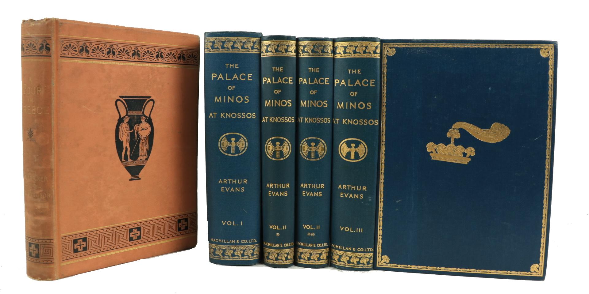 Evans (Sir Arthur)ÿThe Palaceÿof Minos,... at Knossos, Vols. 1 - 3, in 4 vols., 4to L. 1921 - 1930.