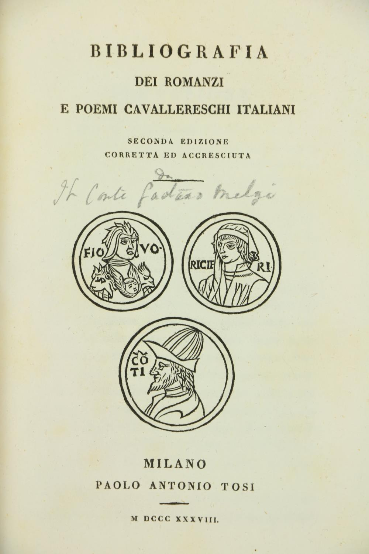 Italian Bibliography:ÿÿÿBibliografia dei Romanzi e Poemi Cavallereschi Italiani, 8vo Milan (P.A. - Image 3 of 4