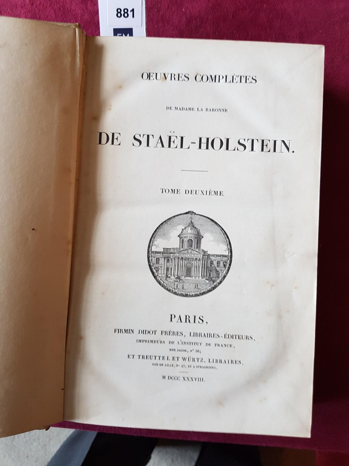 De Stael (Madame)ÿOeuvres Completes de Madame la Baronne de Stael-Holstein, 2 vols. folio Paris ( - Image 4 of 8