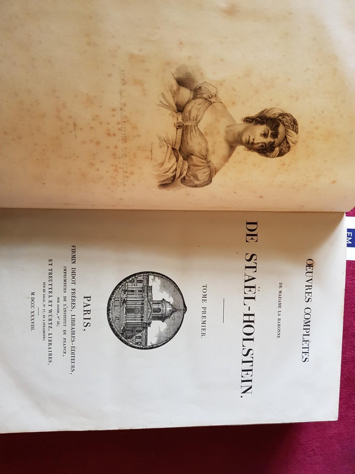 De Stael (Madame)ÿOeuvres Completes de Madame la Baronne de Stael-Holstein, 2 vols. folio Paris ( - Image 6 of 8
