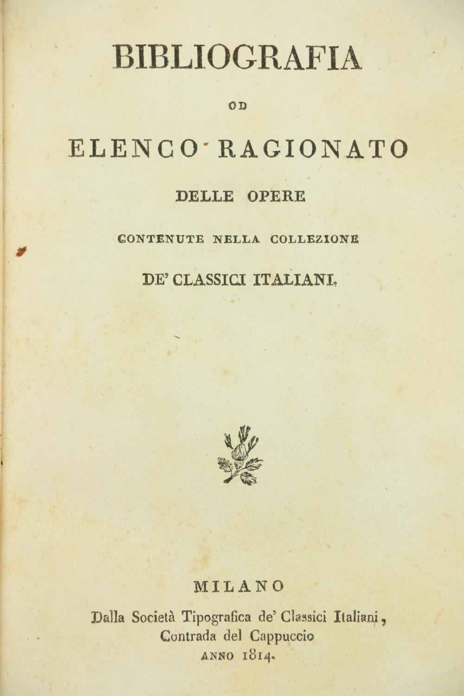 Bibliography:Bibliografia od Elenco Ragionato delle Opere contenute nelle Collezione de Classici - Image 2 of 2