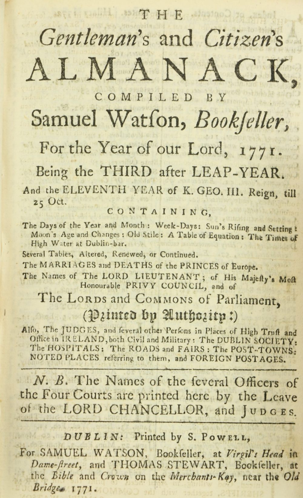 In Fine Contemporary Irish Bindingsÿ Almanacs Etc:ÿÿWatson (Samuel)ÿThe Gentleman's and Citizen's - Image 2 of 3