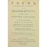 [Jones (Sir Wm.)]ÿPoems Consisting Chiefly of Translations from the Asiatick Languages, to which are