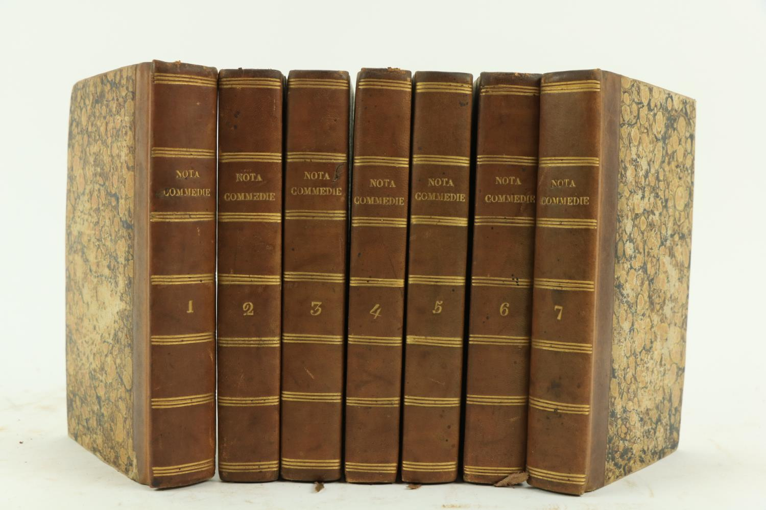 Nota (A.)ÿCommedie di Alberto Nota, 7 vols. 12mo Florence 1827. Port. frontis, cont. calf backed