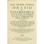 Withofii (Joan Hildebrand) Oratio de Telchinibus Antiquissime Totuis Terrarum Orbis Popula, 4to