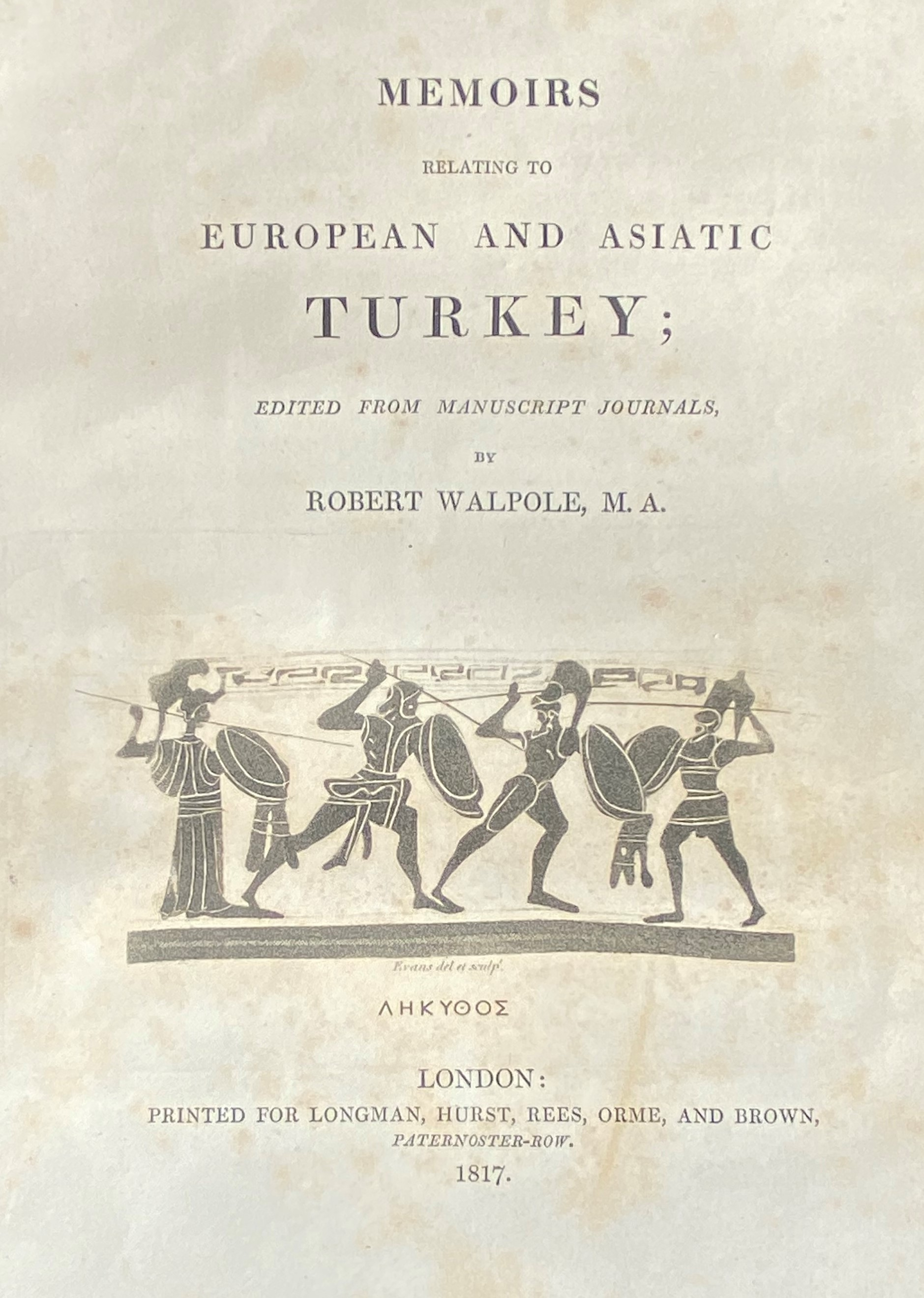 Walpole (Robert)ÿMemoirs Relating to European and Asiatic Turkey, lg. 4to Lond. 1817. Vignette - Image 3 of 4