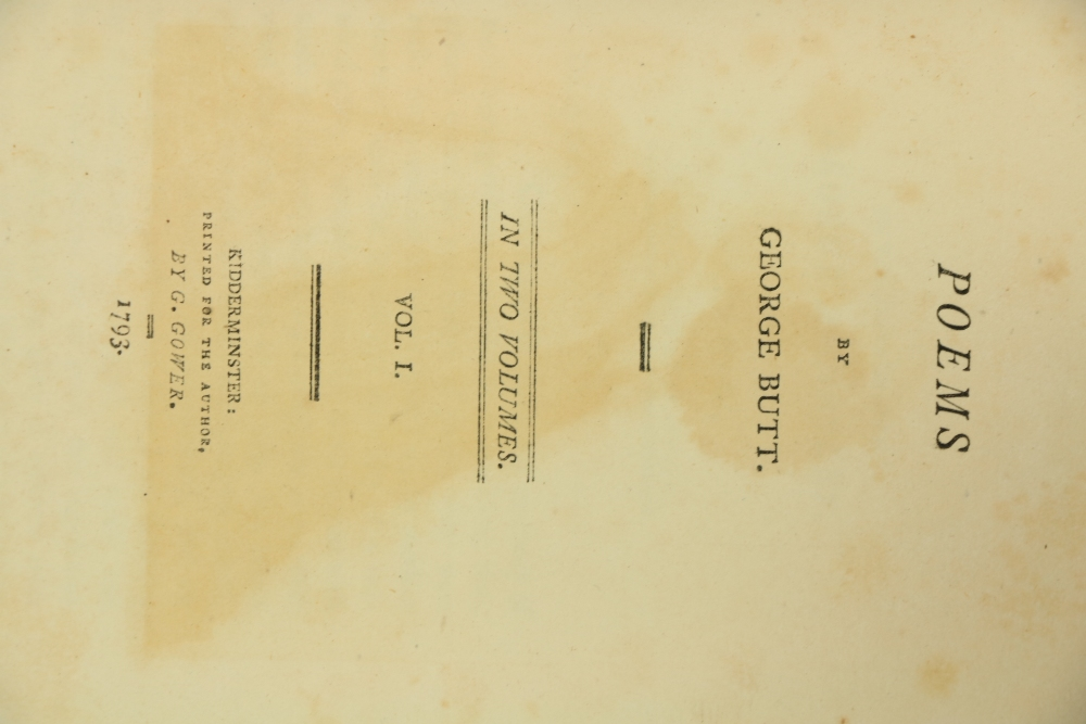 Binding by C. Kalthoeber Binding: Butt (George)Poems, 8vo Kidderminster (G. Gower) 1793. Printed - Image 2 of 2