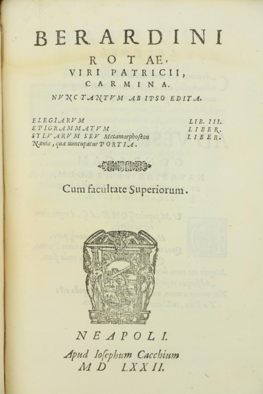 Rota (B.)ÿDelle Rime del S. Berurdino Rota;ÿBound with,ÿDelle Egloghe Pescatorie del S. Berardino - Image 5 of 5