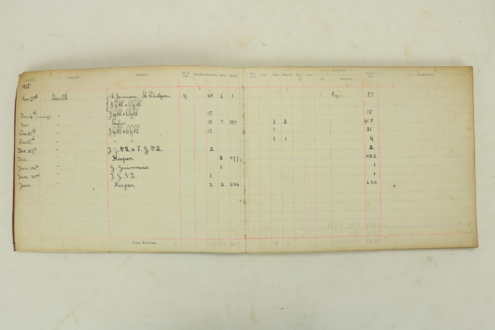 Howth Castle:ÿÿÿGame Register, Nov. 1915 - Dec. 1936. It details date, and those in the party on - Image 2 of 2
