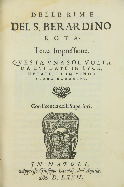 Rota (B.)ÿDelle Rime del S. Berurdino Rota;ÿBound with,ÿDelle Egloghe Pescatorie del S. Berardino - Image 2 of 5