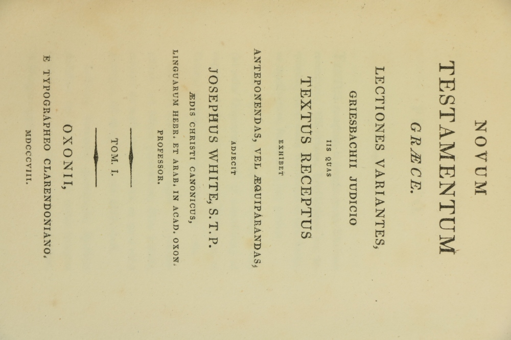 Profusely Annotated by Thos. Gaisfordÿ Greek Testament:ÿ White (Joseph)Ed.ÿNovum Testamentum Graece, - Image 2 of 2