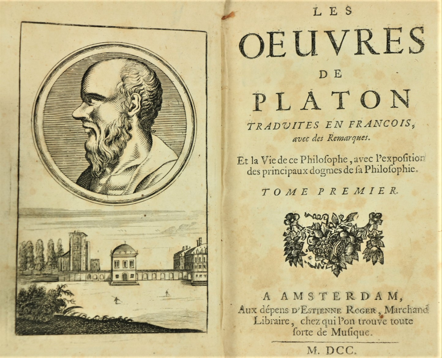 Platon -ÿÿLes Oeuvres de PlatonÿTraduites en Francois, avec des Remarques, 2 vols. Amsterdam (d' - Image 2 of 2