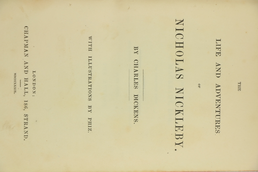 Dickens (Charles)ÿTheÿLife and Adventures of Nicholas Nickleby, 8vo Lond. (Chapman & Hall) 1839. - Image 2 of 4