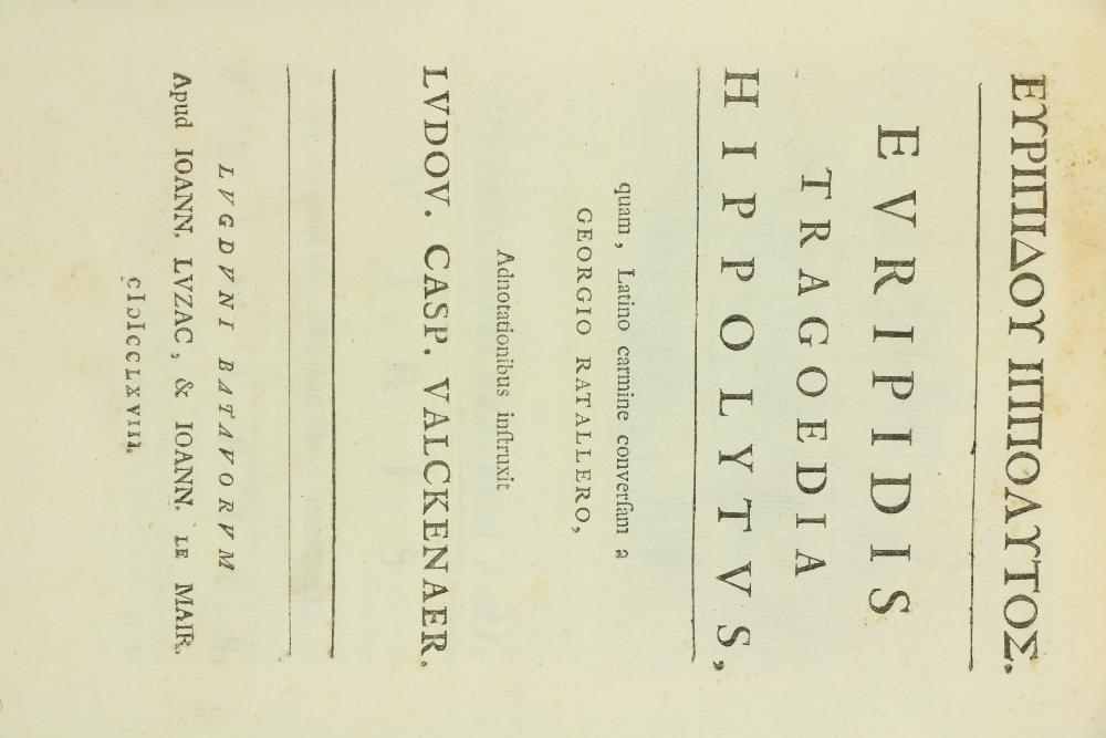 Binding: Valckenaer (Ludov. Casp.)ÿEuripidis Tragoedia Hippolytus, quam, Latino carmine conversam - Image 2 of 2