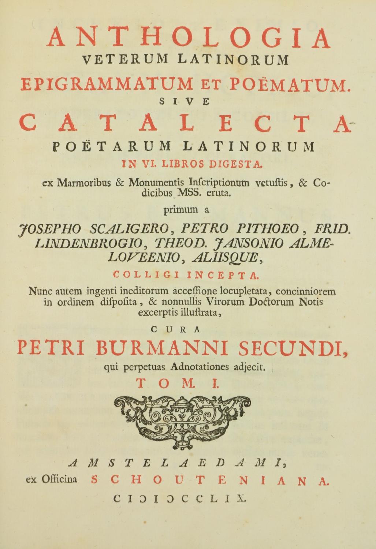 Burmann (Petri)ÿAnthologia Veterum Latinorum Epigrammatum et Poematum, 2 vols. lg. 4to Amsterdam ( - Image 2 of 3