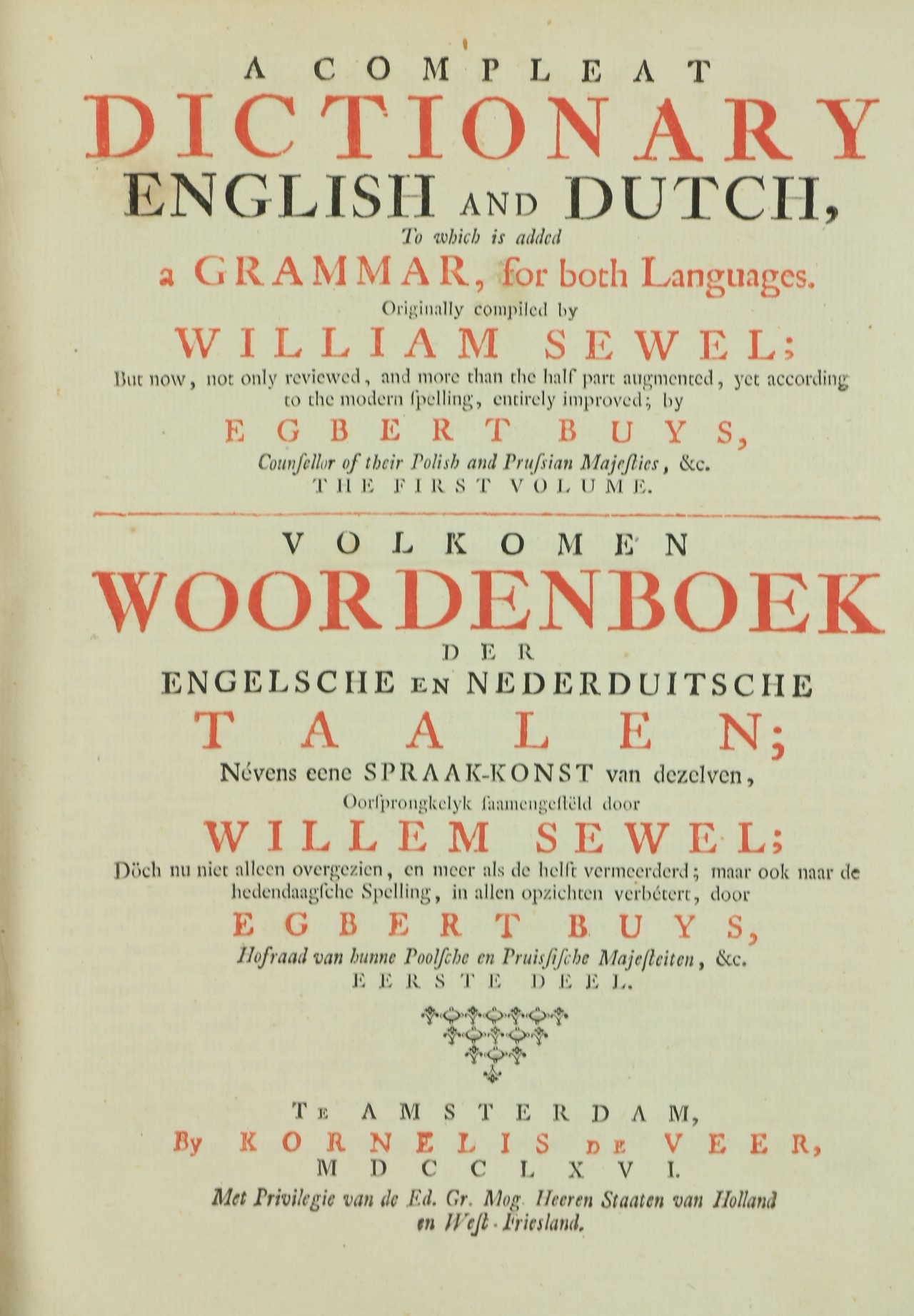 Association Copyÿ Sewel (Wm.)ÿA Complete Dictionary English and Dutch, To which is added Grammar, - Image 2 of 3